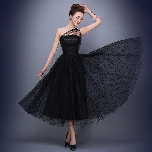 Dress Little Black Dress One Shoulder Prom Dresses Evening Dress
