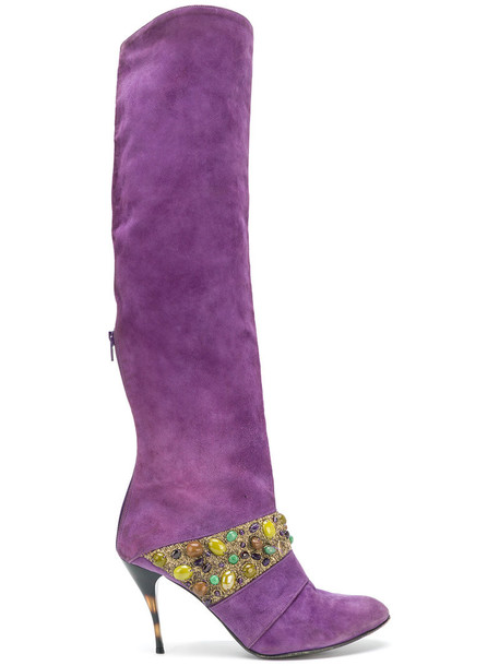 Jean Louis Scherrer Vintage suede boots leather suede purple pink shoes