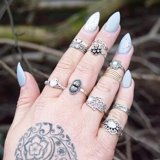 jewels cherry diva knuckle ring ring silver silver ring silver jewelry boho jewelry bohemian