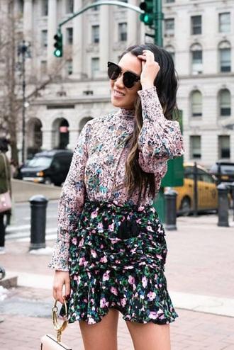 blouse pink top floral floral skirt floral top skirt mini skirt