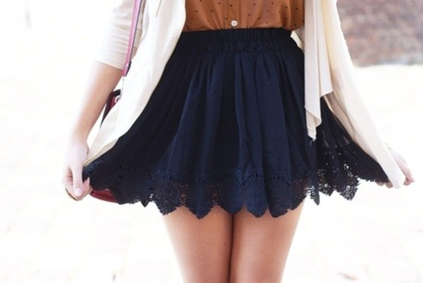 Skirt: blue, laced, navy, high waisted skirt, lace trim, blue ...