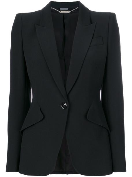 Alexander Mcqueen blazer women black silk jacket