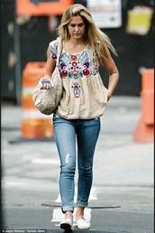 shirt,bar refaeli,top,jeans