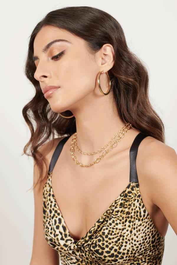 Stacked Up Gold Chain Linked Layered Necklace