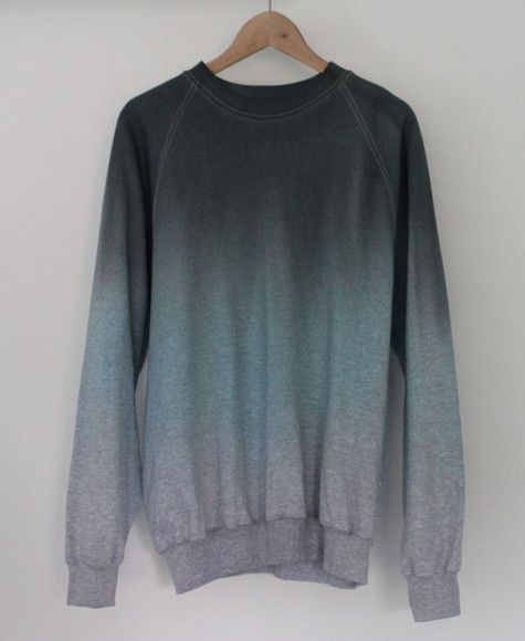 sweater sweatshirt blue black ombre crewneck dip dyed dip dye crewneck sweater crewneck sweatshirt pullover ombr? long sleeve faded shirt unisex grey white jumper ombré pretty hot cute sexy big oversized