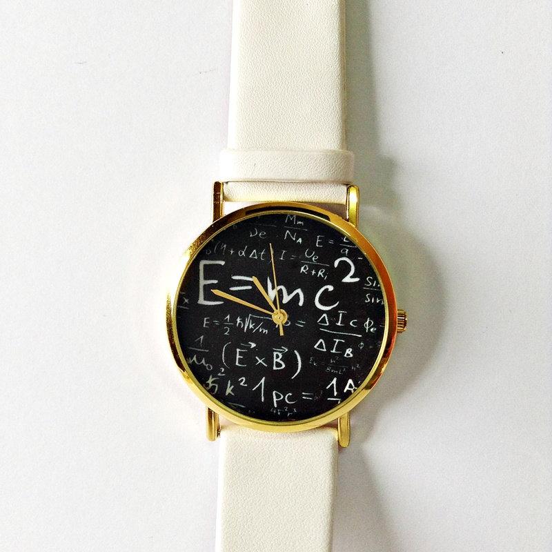 Original Freeforme Einstein Watch , E=MC2 Equation Watch, Vintage Style Leather Watch, Women Watches, Mens Watch, Unisex , Boyfriend Watch,