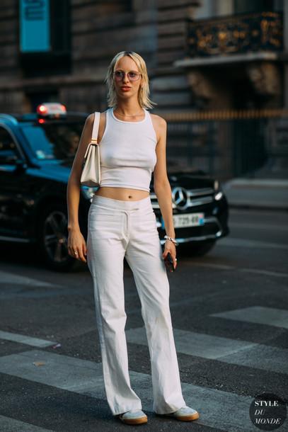 top crop tops white top pants shoes bag