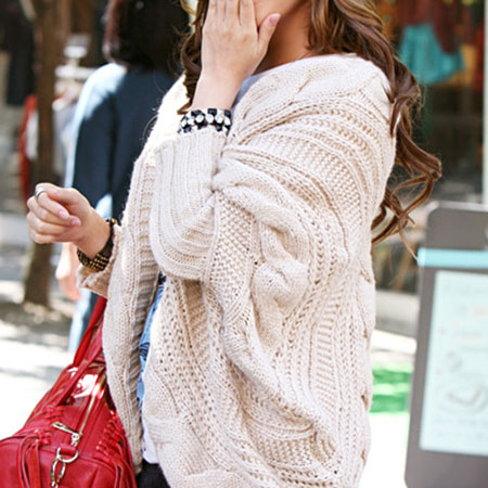 Sweet Stylish Leisure Batwing Sleeve Pure Color Oversize Knit Cardigan White for big sale!