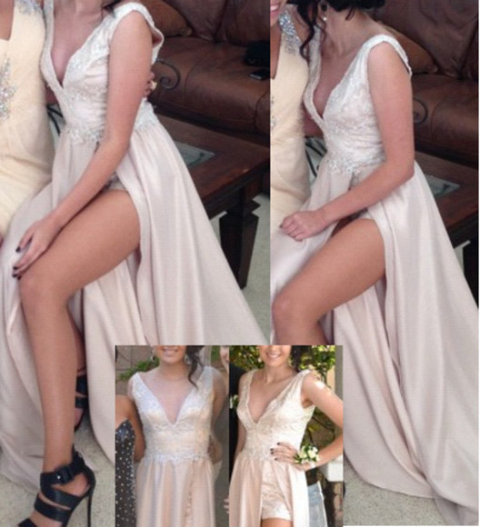 dress prom prom dress 2014 prom dresses lace dress white dress champagne dress overskirt dress wedding dress vintage vintage dress v neck dress high slit nude white romper dress elegant dress deep v neck dress v cut neck dress slit dress