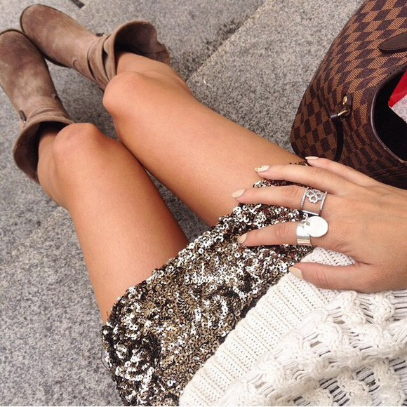 silver jewels silver jewelry shoes gold skirt boots camel ring pullover sweater white