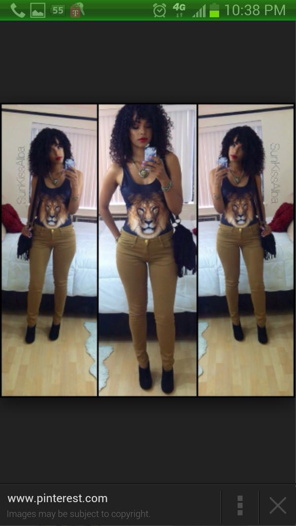 lion bodysuit cats tank top shirt