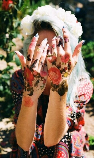 nail polish fake tattoos soft grunge vintage shirt temporary tattoo roses