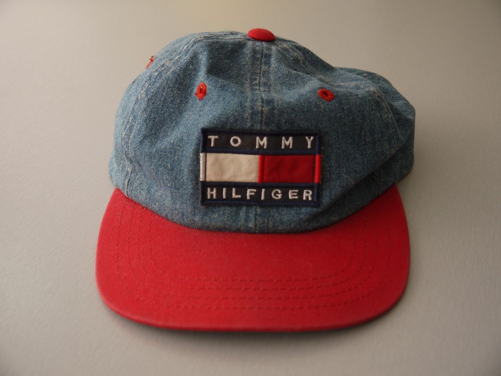 9905890f VINTAGE 90s Tommy Hilfiger SNAPBACK hat cap YOUTH denim red brim flag boys  kids