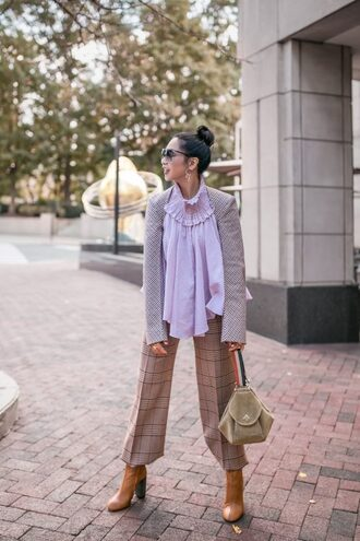 pants tumblr grey pants cropped pants boots brown boots blouse lilac jacket plaid plaid pants bag handbag sunglasses