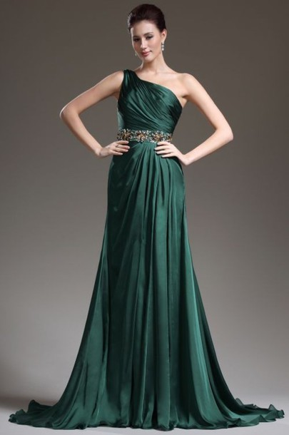 Dress, $80 at Princess One Shoulder Court Train Chiffon Green Evening Dress  With Draped - Wheretoget