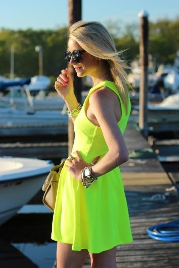 dress bright flourescent short yellow backless dress yellow dress summer dress sundress