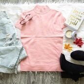 top,turtleneck,short sleeve,t-shirt,formal,pink,rose,fit,tight,shirt,fall outfits,winter outfits,summer,spring,style,fashion,cute,bellexo