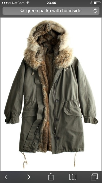 coat green parka fur