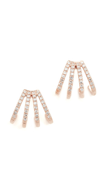 EF COLLECTION rose gold rose clear earrings gold jewels