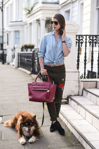 thank fifi blogger shirt pants shoes bag jewels denim jacket black jeans embroidered burgundy red bag aviator sunglasses black boots