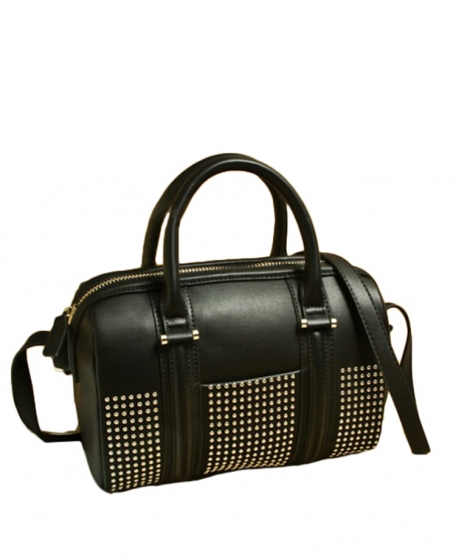 Gold-studded Black Shell Leather Tote | BlackFive