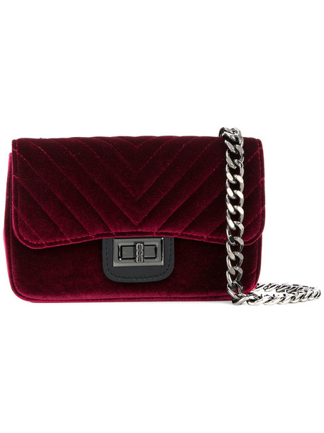 Marc Ellis women quilted bag leather cotton velvet red