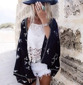 blouse,white,white blouse,lace cami,halter top,cardigan,kimono,tank top,ring,bracelets,belt,komono,shirt,boho,hat,top,black and white,lace top,hippie,indie,gypsy,pale,girly,black kimono,long,High waisted shorts,pattern,loose,crochet top,halter neck,white crop tops,summer top,fashion,outfit,black,style,bohemian,tumblr outfit,boho chic,shorts,pretty,coat,black cardigan,snow,white shorts,cute shorts,cute top,crop tops,jewels,lace