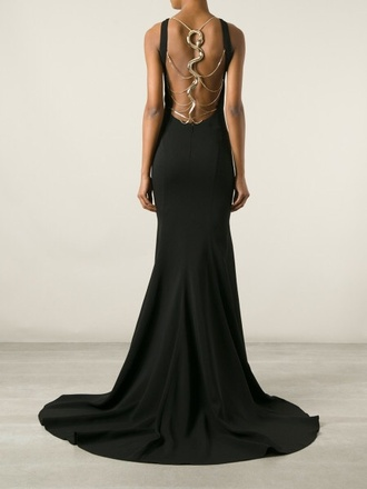 dress black snake gold floor length dress formal dress black dress black and gold dress long dress long prom dress metallic detail accessory open back open back dresses flowy elegant elegant dress chain gold chain backless backless dress