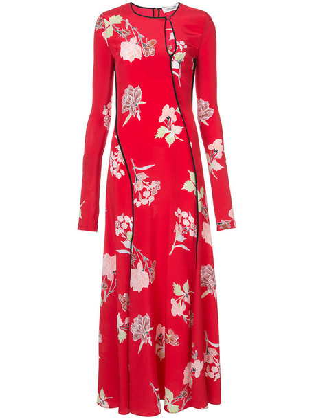 Dvf Diane Von Furstenberg dress floor length dress women silk red