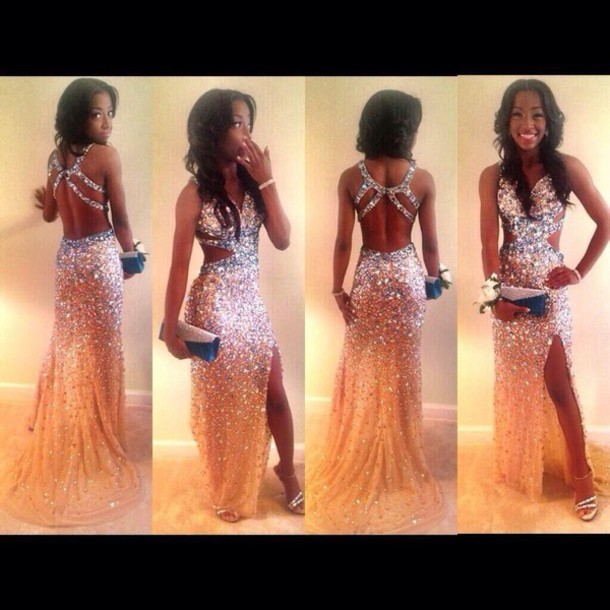 e3ad20a8634 Aliexpress.com   Buy Luxury Beaded Sparkly Abendkleider Halter Cut Out Back Prom  Dress High Leg Slit ...