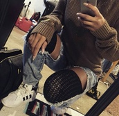 jeans,socks,grunge,ripped jeans,denim,shoes,thigh highs,thigh high leg warmers,sweater,sneakers,adidas,knitted cardigan,knitted sweater,adidas shoes,ripped,blue,stockings,jacket,jewels,jumpsuit,cardigan