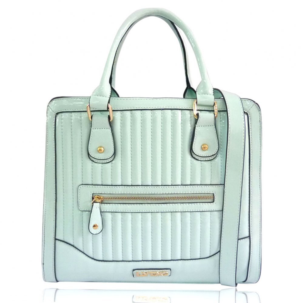 Patent Tote Bag | Mint Green or Grey Quilted Tote Bag on Wanelo