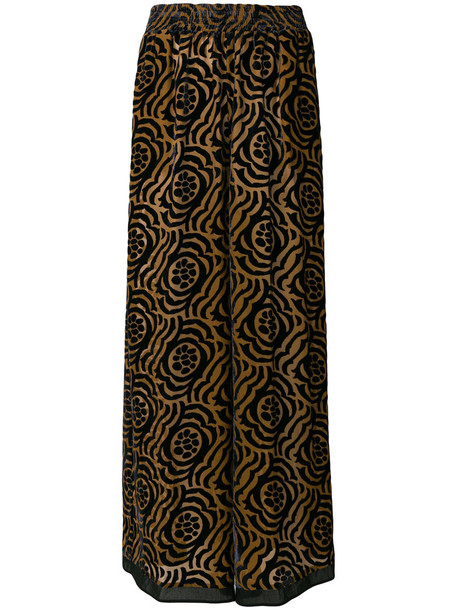 Stefano Mortari pants palazzo pants women floral cotton print silk brown