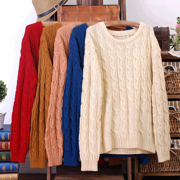 Casual wild round neck cable knit jumper pullover sweater  from love, vintage on storenvy