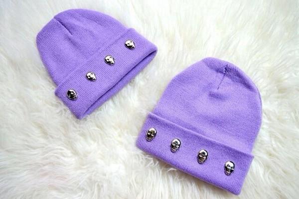 hat beanie grunge cute pastel skull purple hat