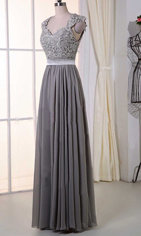 Gray Lace Cap Sleeves Long Bridesmaid Dresses KSP385 [KSP385] - £100.00 : Cheap Prom Dress UK, Wedding Bridesmaid Dresses, Prom 2016 Dresses, Kissprom.co.uk offers fashion trends prom dresses uk, bridesmaid dresses uk, amazing graduation dresses, ball gown and any other formal, semi formal dresses with free shipping and free custom service at affordable price.