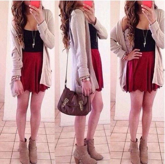 cream cardigan long style tank top necklace boots sweater skirt back to school