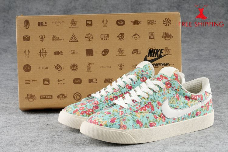 Nike Womens Blazer Sneakers Low Lace Up Floral Blue