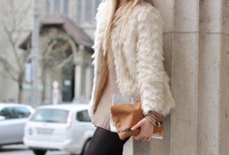 coat clothes fur faux fur jacket jacket boho lace beige white