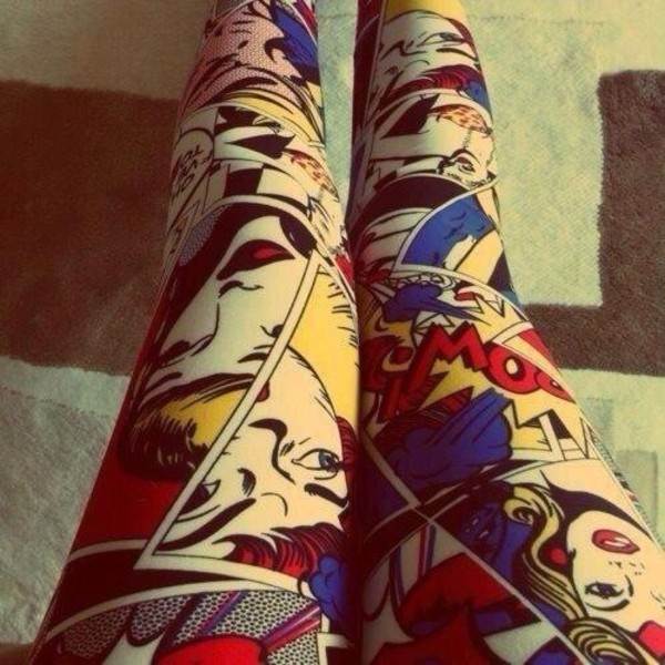 pants leggings comics comics comic book printed leggings