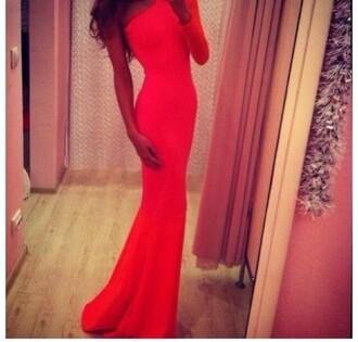 dress coral dress mermaid prom dress one shoulder tight dress long dress
