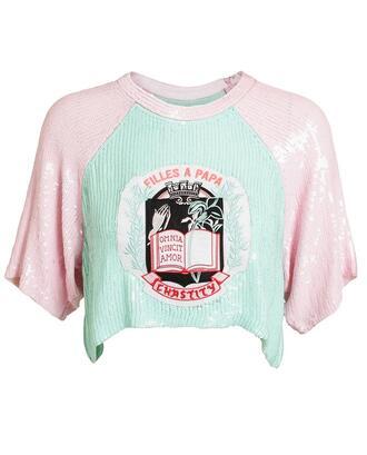 shirt sequin embellished crop top filles a papa top crop tops embellished top pastel pastel pink pastel green sequins all pink wishlist