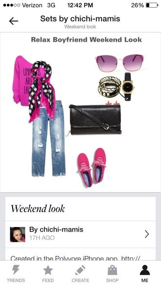 pants boyfriend jeans scarf pink sunglasses neon orange high heels