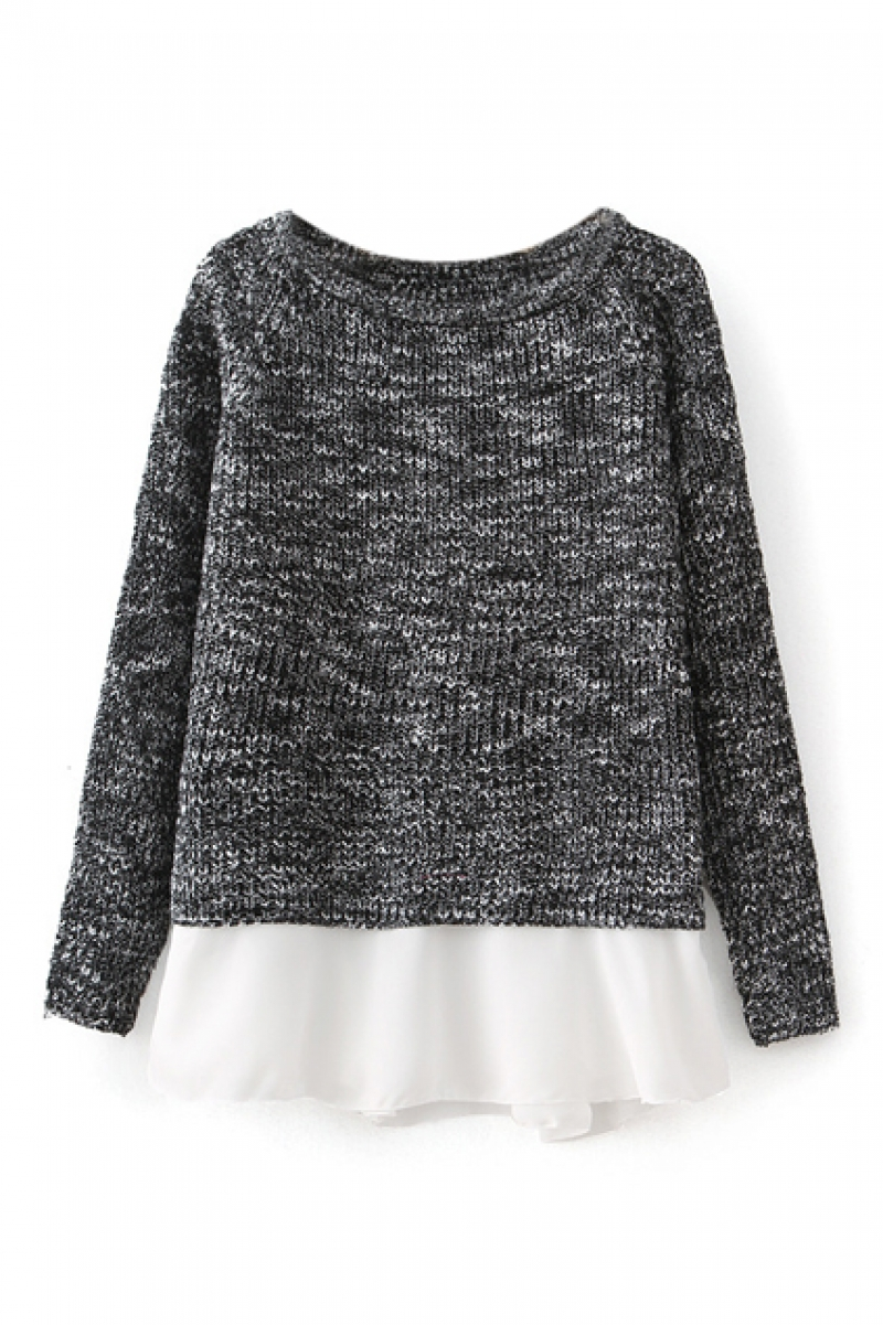Mesh Panel Grey Jumper