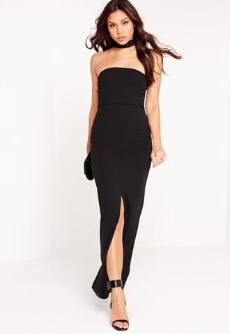 dress maxi dress cut-out dress choker dress black choker dress black maxi dress ankle strap heels black heels strapless dress strapless