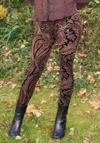 leggings paisley metallic pants gold black paisley leggings