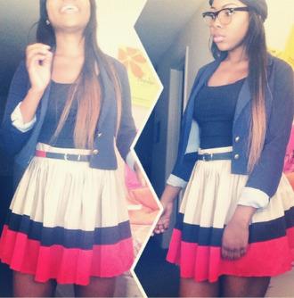 skirt belted skirt colorblock