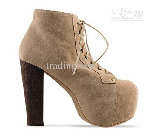 Wholesale Trendy Lace Up Chunky Heel Boots Women Stylish Winter Shoes