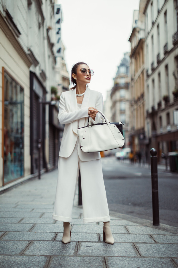 not jess fashion blogger jacket tank top pants shoes bag sunglasses fall outfits white jacket white pants suit handbag boots