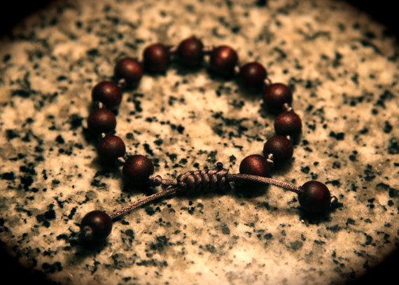Yogibead wooden round bead on grey satin bracelet by yogibead